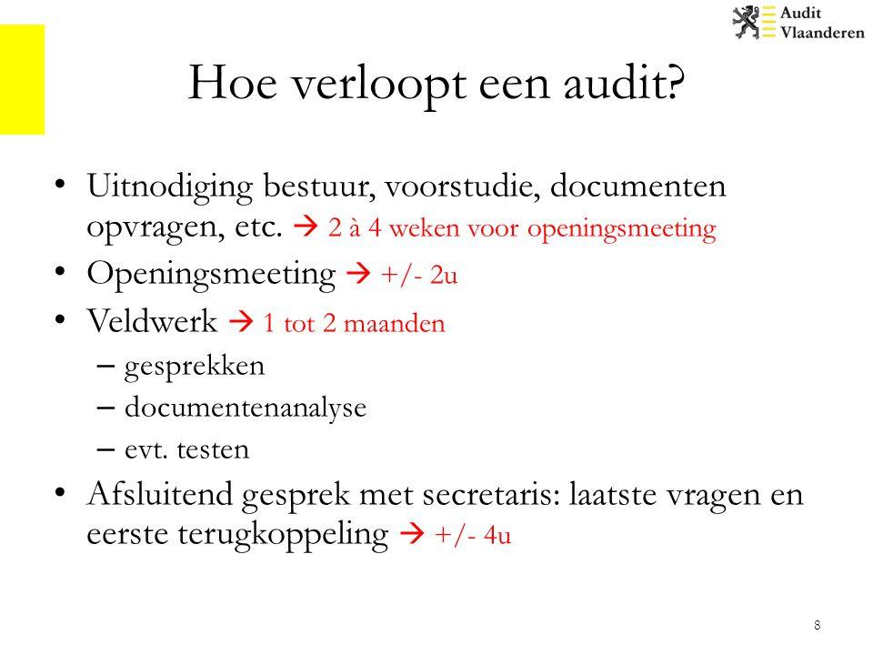 Hoe verloopt een audit Uitnodiging bestuur, voorstudie, documenten opvragen, etc.  2 à 4 weken voor openingsmeeting.