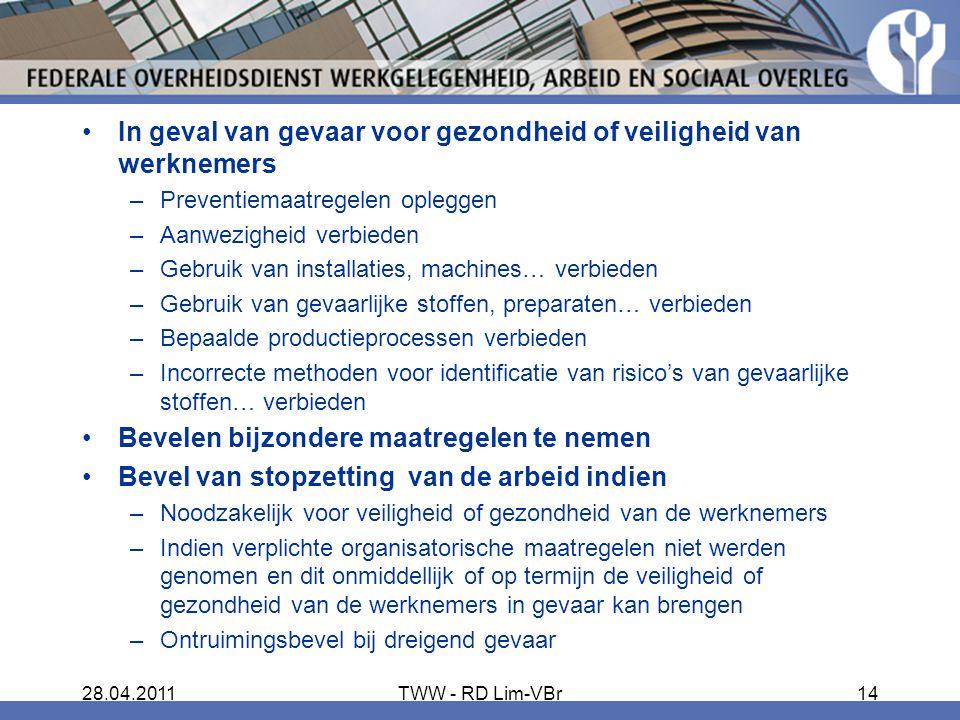 In geval van gevaar voor gezondheid of veiligheid van werknemers