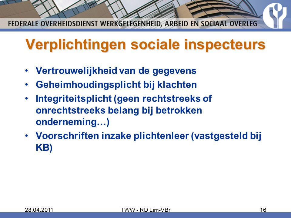 Verplichtingen sociale inspecteurs