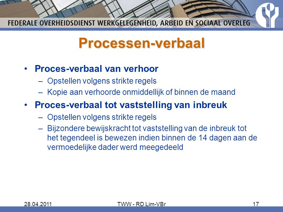 Processen-verbaal Proces-verbaal van verhoor
