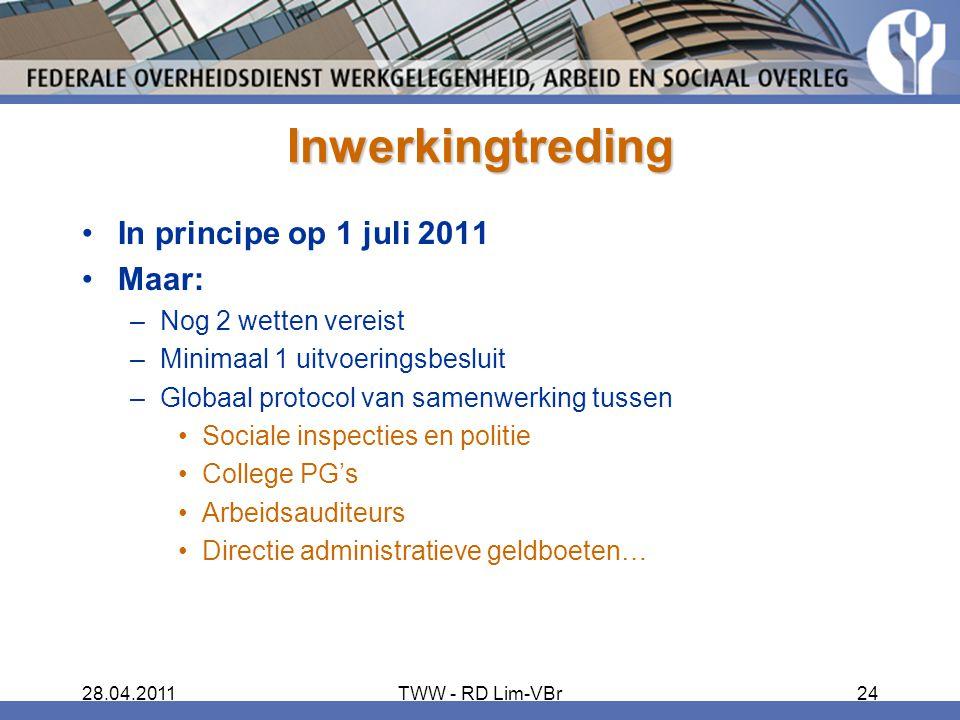 Inwerkingtreding In principe op 1 juli 2011 Maar: Nog 2 wetten vereist