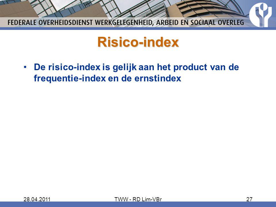 Risico-index De risico-index is gelijk aan het product van de frequentie-index en de ernstindex. 28.04.2011.