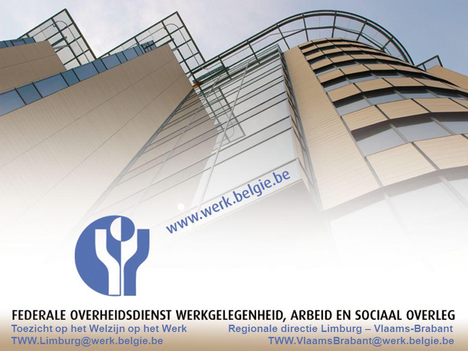 Toezicht op het Welzijn op het Werk Regionale directie Limburg – Vlaams-Brabant TWW.Limburg@werk.belgie.be TWW.VlaamsBrabant@werk.belgie.be