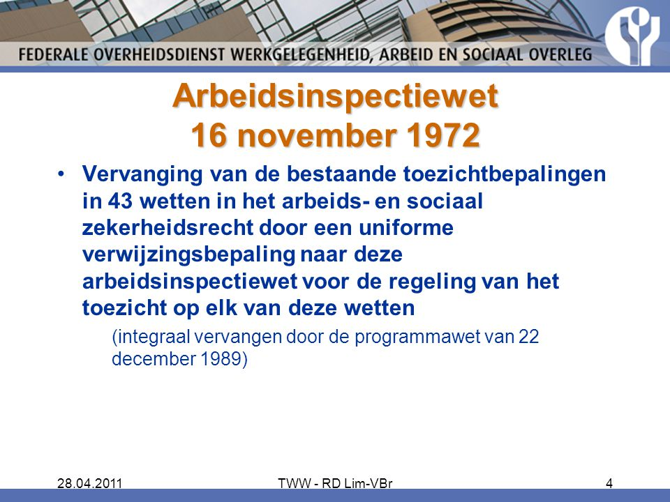 Arbeidsinspectiewet 16 november 1972