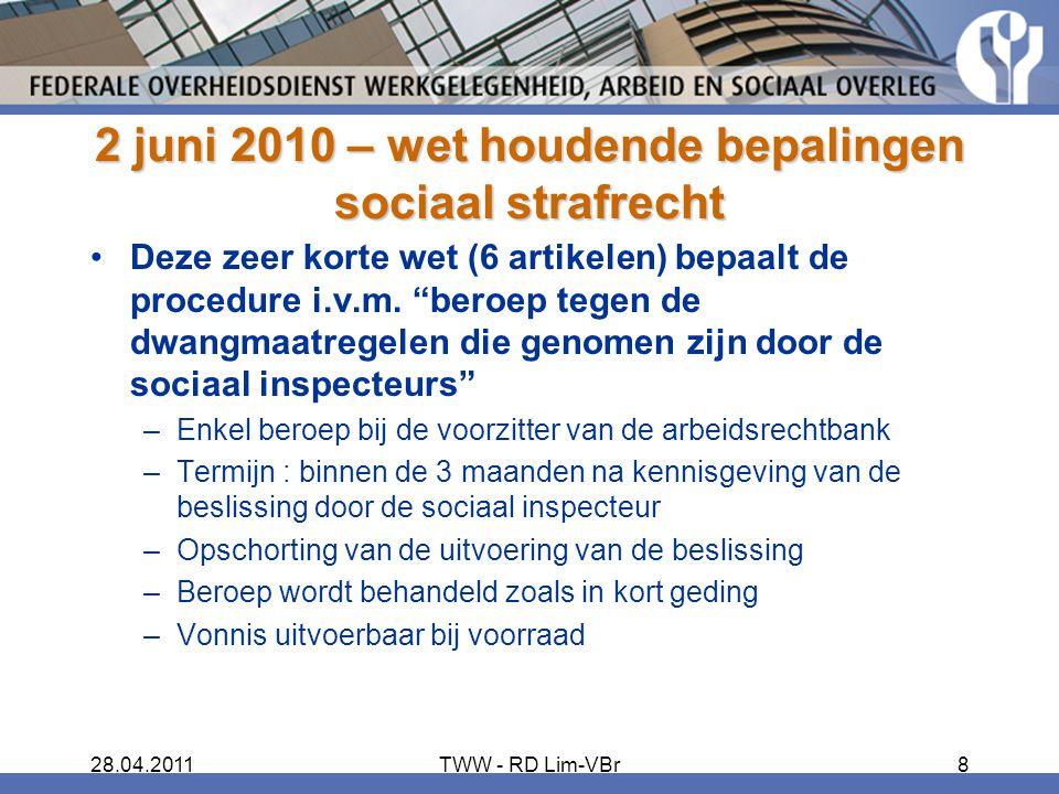 2 juni 2010 – wet houdende bepalingen sociaal strafrecht
