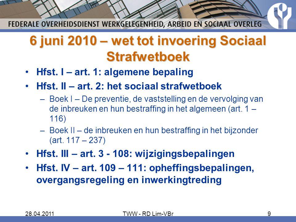 6 juni 2010 – wet tot invoering Sociaal Strafwetboek