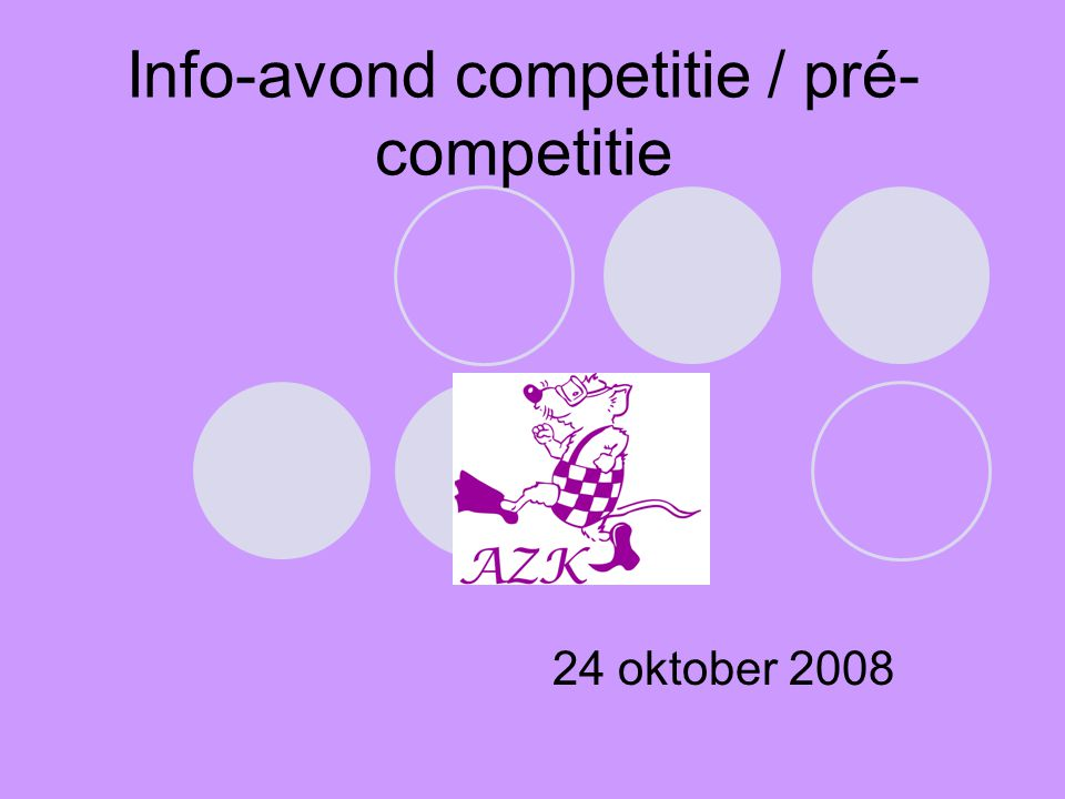 Info-avond competitie / pré-competitie