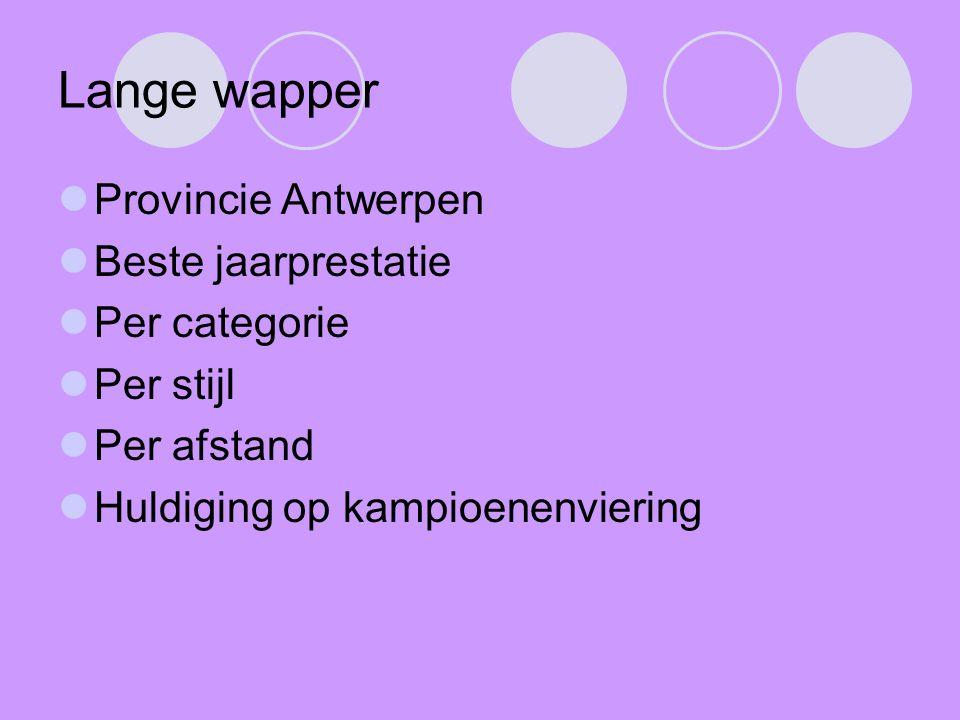 Lange wapper Provincie Antwerpen Beste jaarprestatie Per categorie
