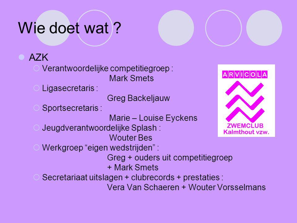 Wie doet wat AZK Verantwoordelijke competitiegroep : Mark Smets