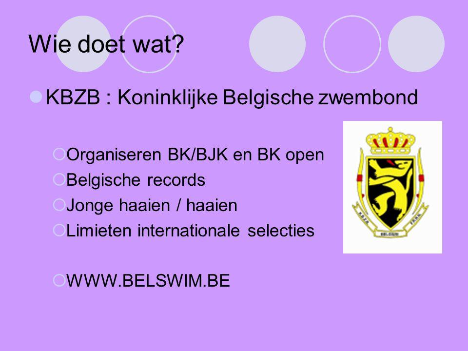 Wie doet wat KBZB : Koninklijke Belgische zwembond