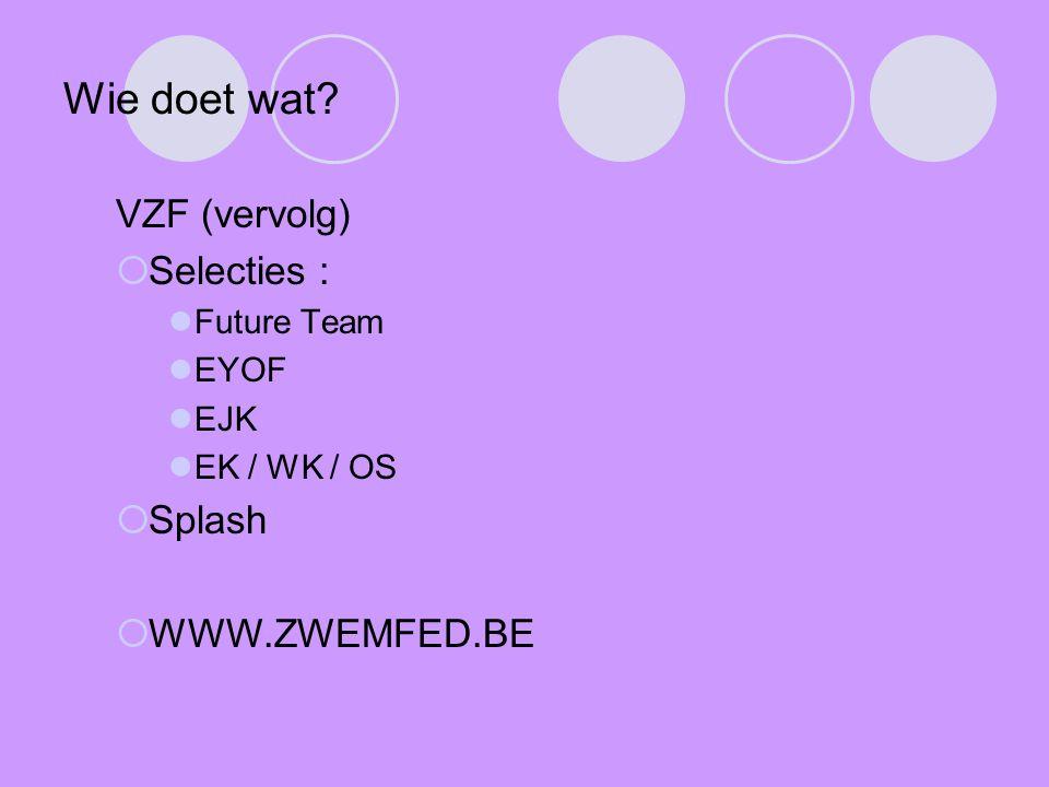Wie doet wat VZF (vervolg) Selecties : Splash WWW.ZWEMFED.BE