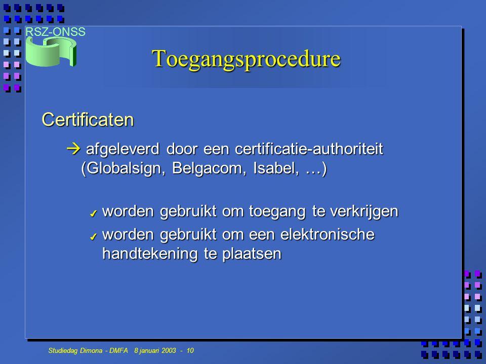 Toegangsprocedure Certificaten