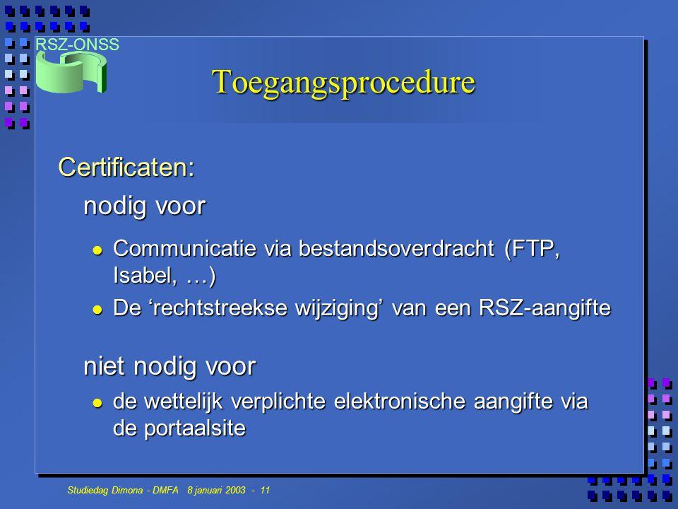Toegangsprocedure Certificaten: nodig voor niet nodig voor