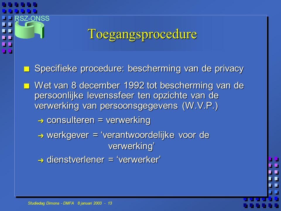 Toegangsprocedure Specifieke procedure: bescherming van de privacy