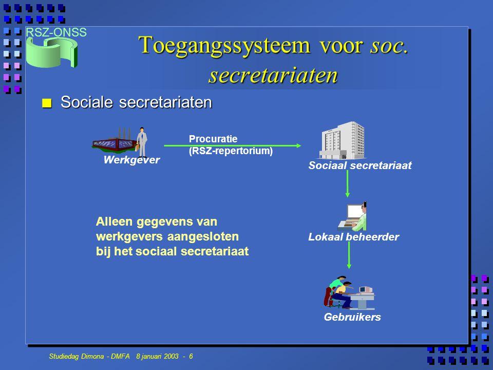 Toegangssysteem voor soc. secretariaten