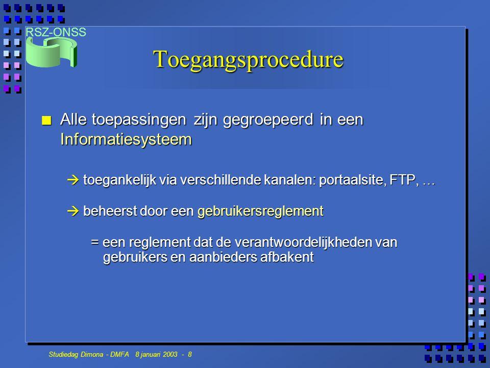 Toegangsprocedure Alle toepassingen zijn gegroepeerd in een Informatiesysteem.  toegankelijk via verschillende kanalen: portaalsite, FTP, …