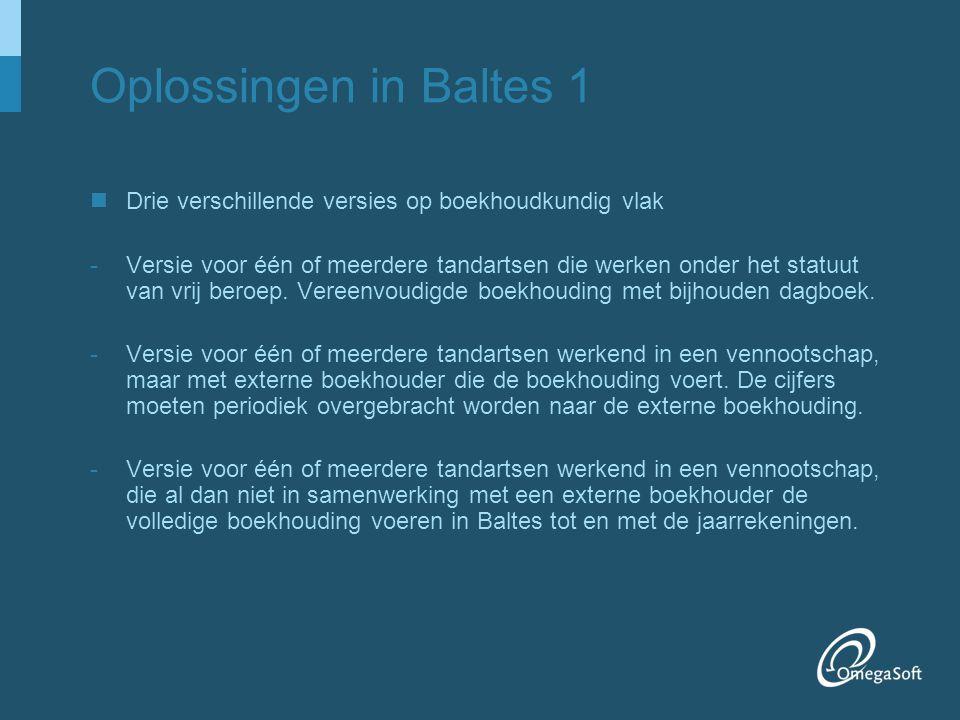 Oplossingen in Baltes 1 Drie verschillende versies op boekhoudkundig vlak.