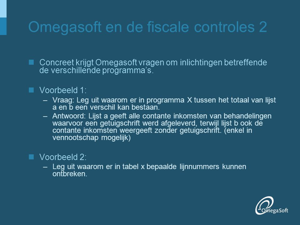 Omegasoft en de fiscale controles 2