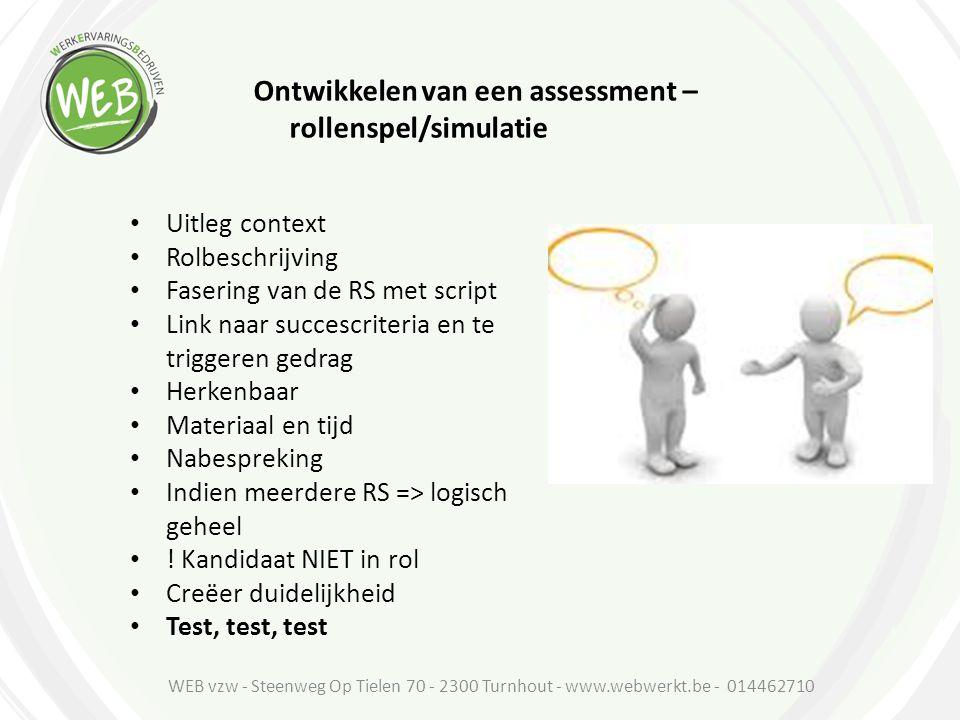 Ontwikkelen van een assessment –rollenspel/simulatie