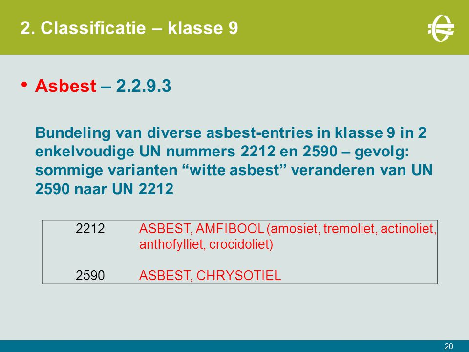 2. Classificatie – klasse 9