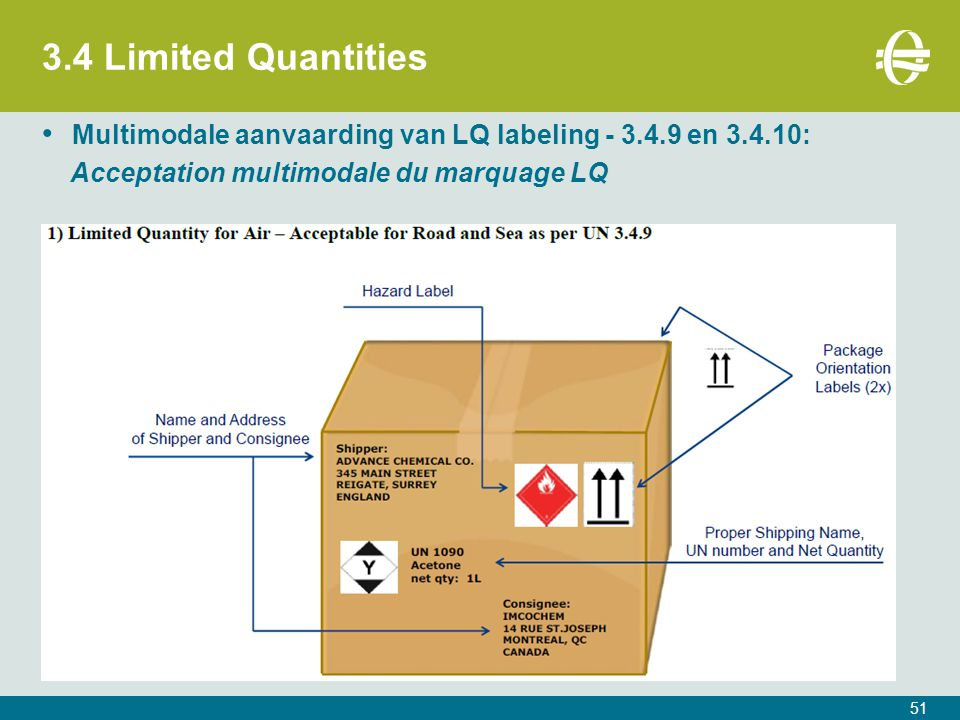 3.4 Limited Quantities Multimodale aanvaarding van LQ labeling - 3.4.9 en 3.4.10: Acceptation multimodale du marquage LQ.
