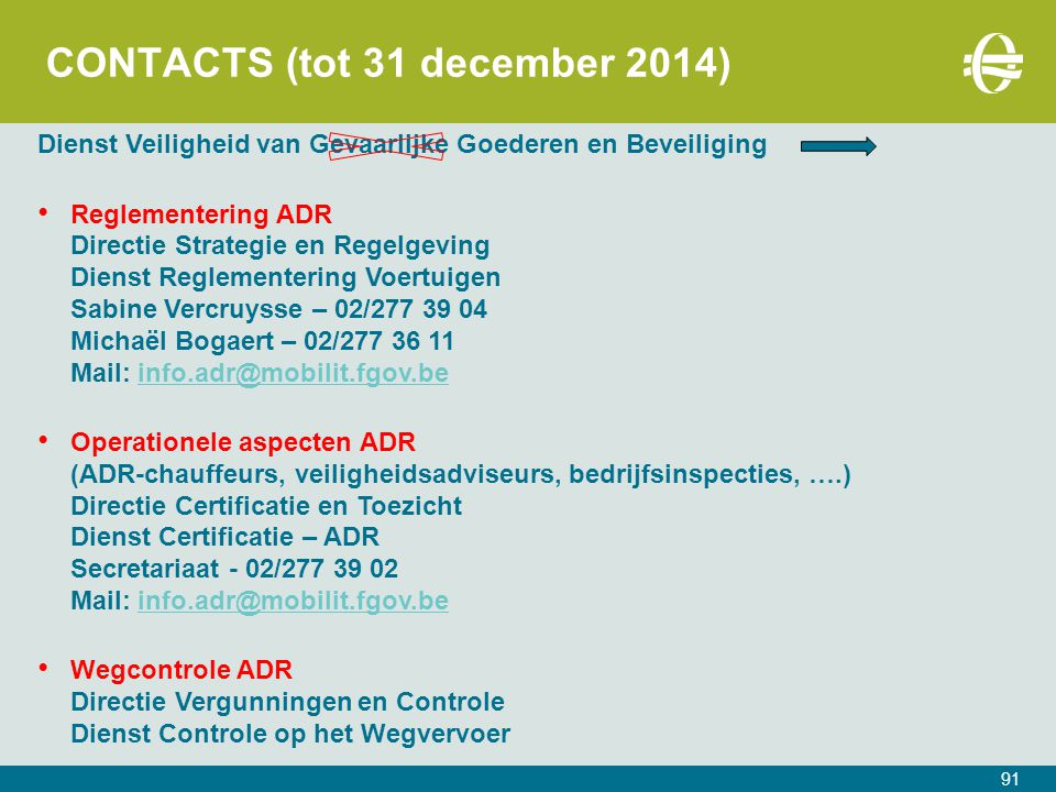 CONTACTS (tot 31 december 2014)