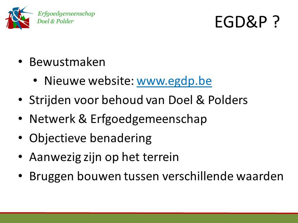 EGD&P Bewustmaken Nieuwe website: www.egdp.be