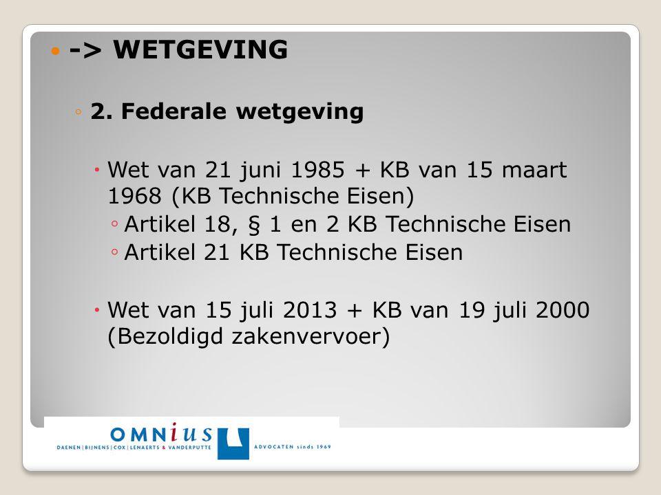 -> WETGEVING 2. Federale wetgeving