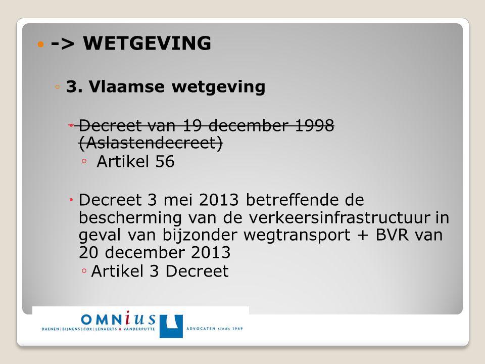 -> WETGEVING 3. Vlaamse wetgeving