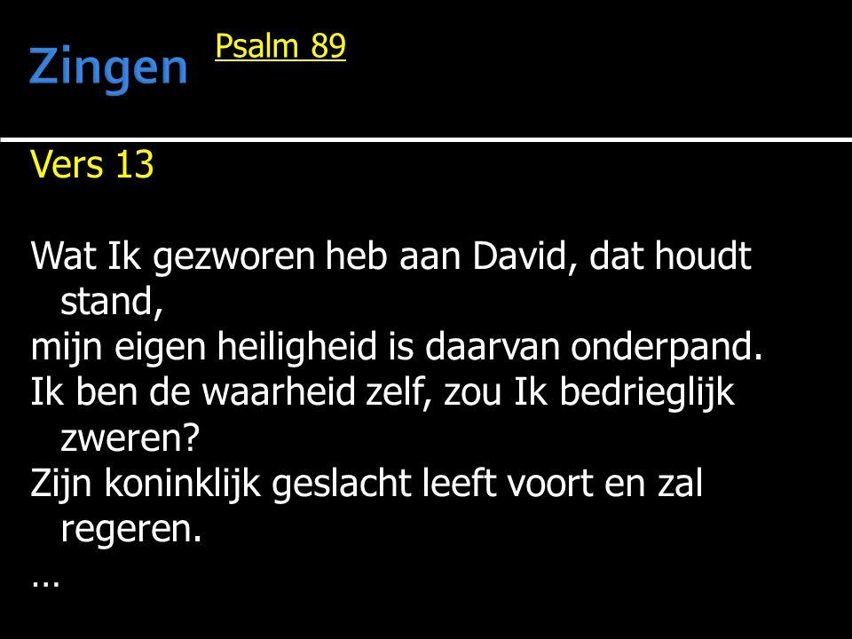 Zingen Vers 13 Wat Ik gezworen heb aan David, dat houdt stand,