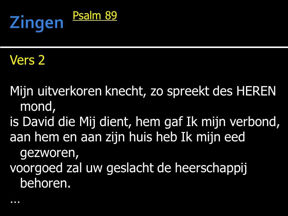 Zingen Vers 2 Mijn uitverkoren knecht, zo spreekt des HEREN mond,