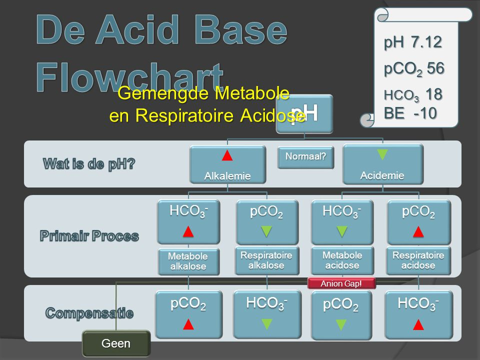 De Acid Base Flowchart pH Gemengde Metabole en Respiratoire Acidose