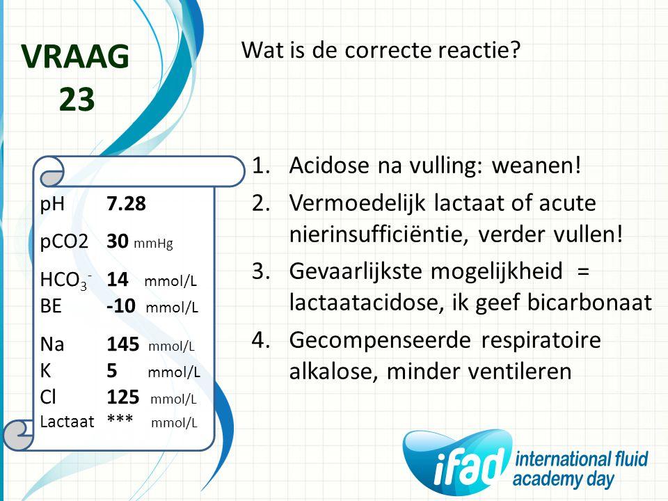 VRAAG 23 Wat is de correcte reactie Acidose na vulling: weanen!