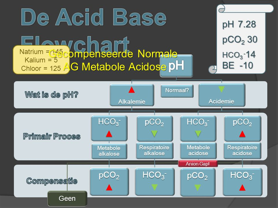 De Acid Base Flowchart pH Gecompenseerde Normale AG Metabole Acidose