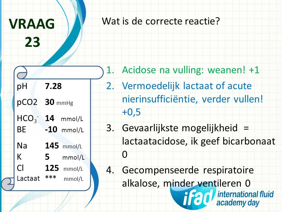 VRAAG 23 Wat is de correcte reactie Acidose na vulling: weanen! +1