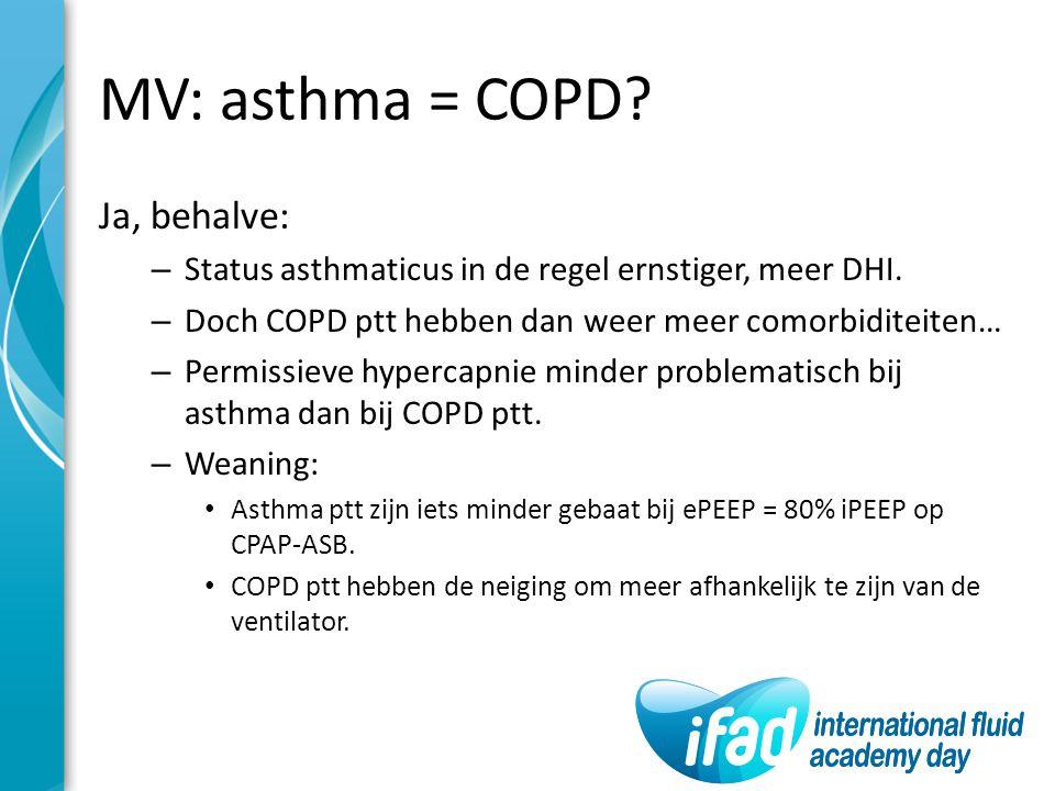 MV: asthma = COPD Ja, behalve: