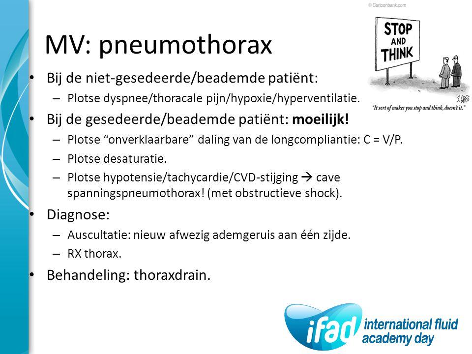 MV: pneumothorax Bij de niet-gesedeerde/beademde patiënt: