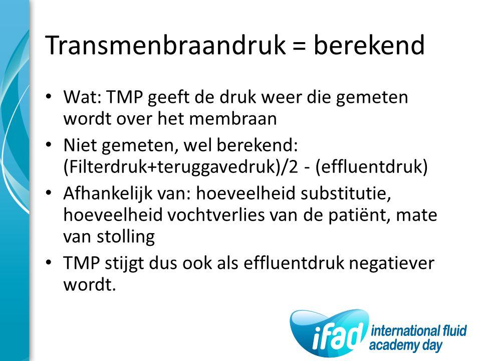 Transmenbraandruk = berekend