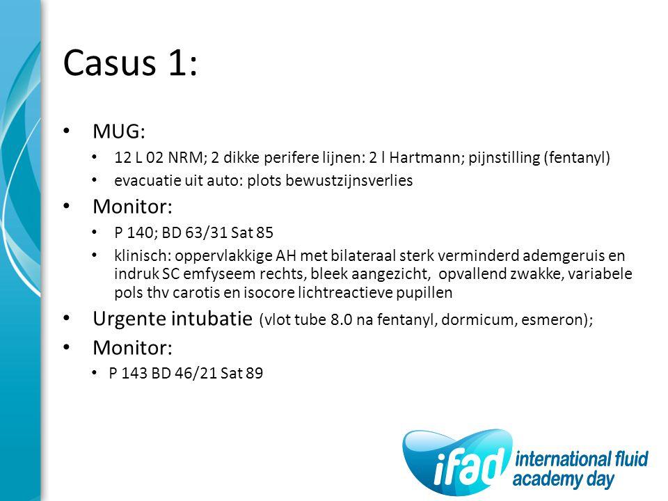 Casus 1: MUG: 12 L 02 NRM; 2 dikke perifere lijnen: 2 l Hartmann; pijnstilling (fentanyl) evacuatie uit auto: plots bewustzijnsverlies.