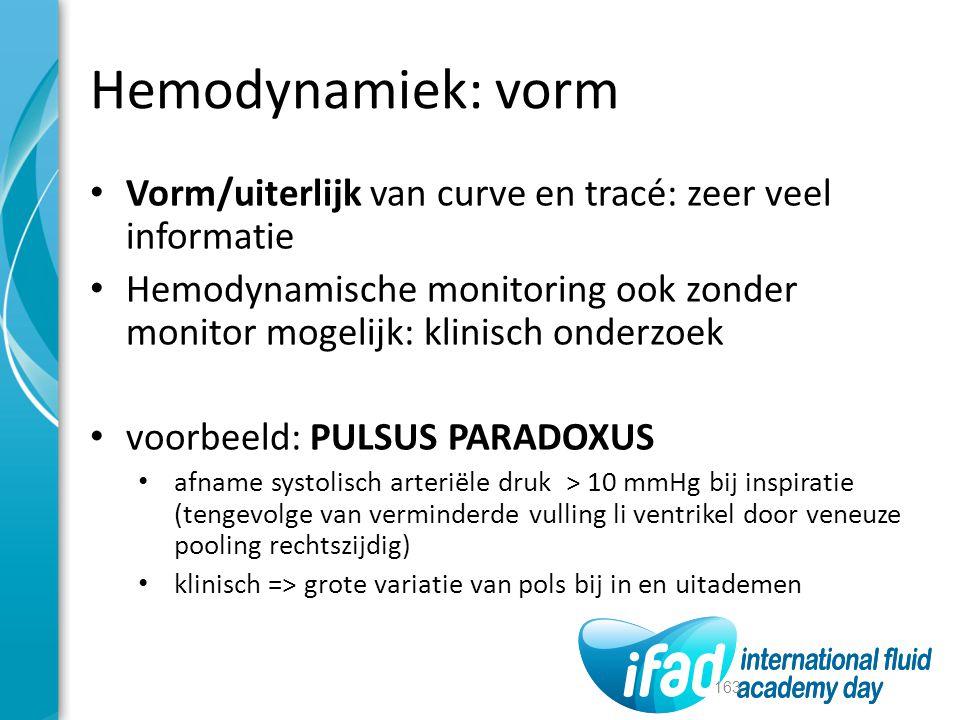 Hemodynamiek: vorm Vorm/uiterlijk van curve en tracé: zeer veel informatie.