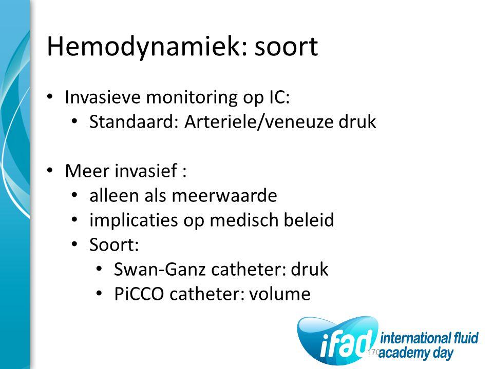 Hemodynamiek: soort Invasieve monitoring op IC: