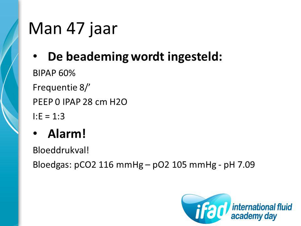 Man 47 jaar De beademing wordt ingesteld: Alarm! BIPAP 60%