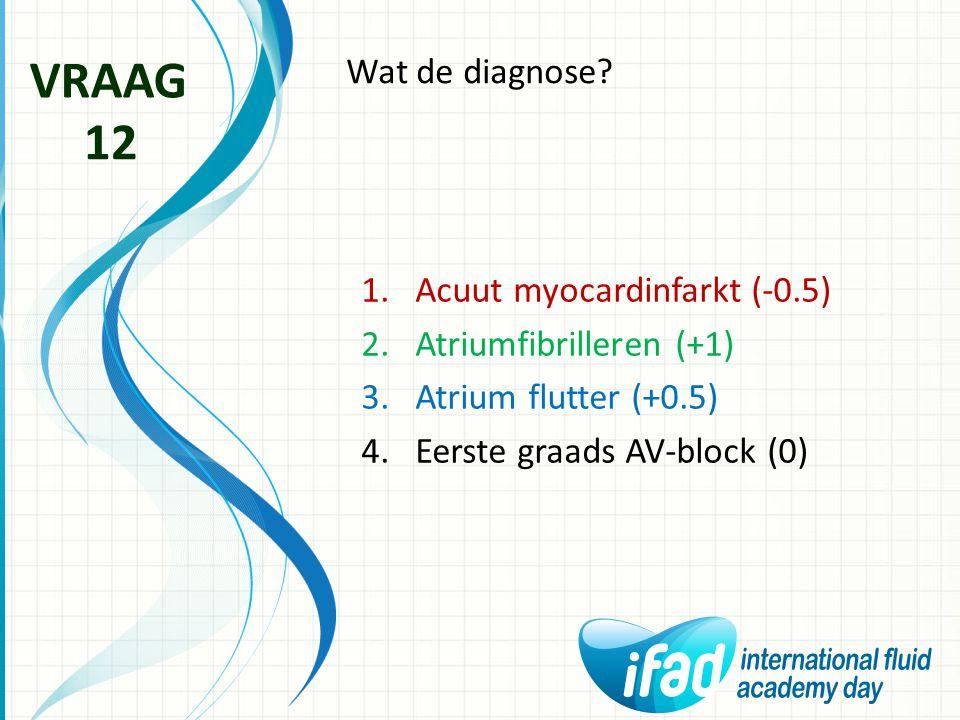 VRAAG 12 Wat de diagnose Acuut myocardinfarkt (-0.5)