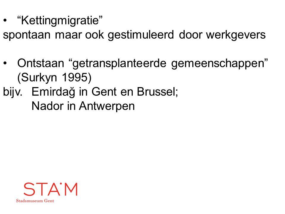 Kettingmigratie spontaan maar ook gestimuleerd door werkgevers. Ontstaan getransplanteerde gemeenschappen (Surkyn 1995)