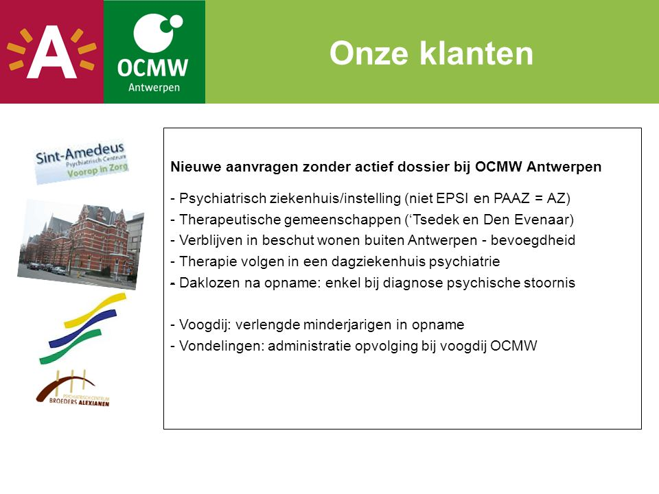 Onze klanten Nieuwe aanvragen zonder actief dossier bij OCMW Antwerpen
