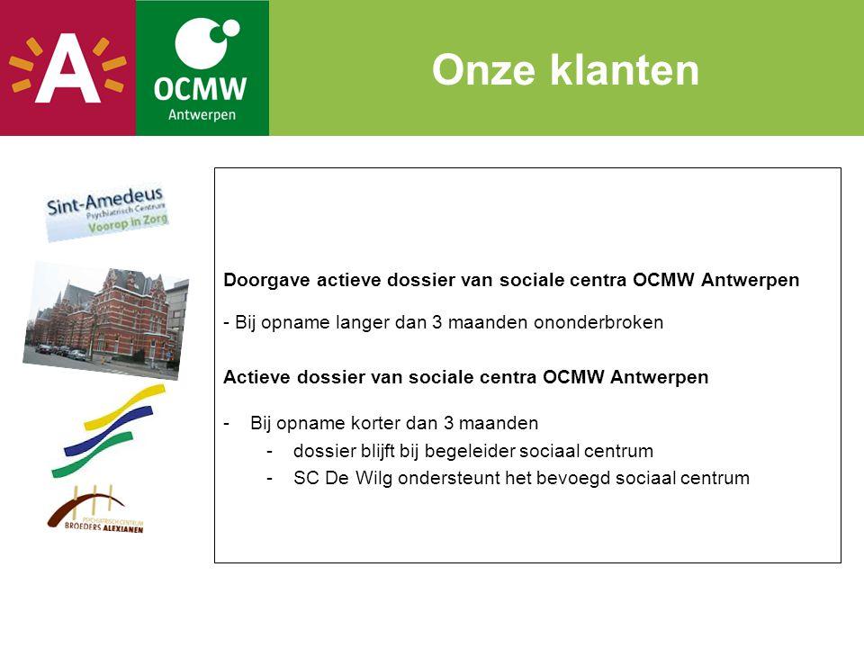 Onze klanten Doorgave actieve dossier van sociale centra OCMW Antwerpen. Bij opname langer dan 3 maanden ononderbroken.
