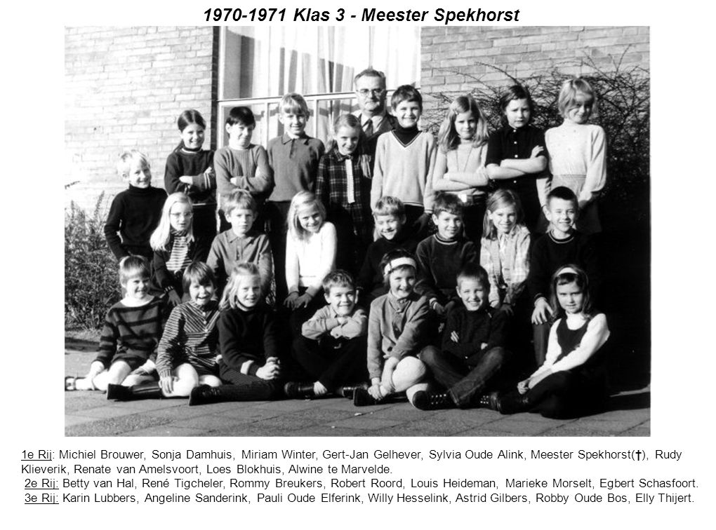 1970-1971 Klas 3 - Meester Spekhorst