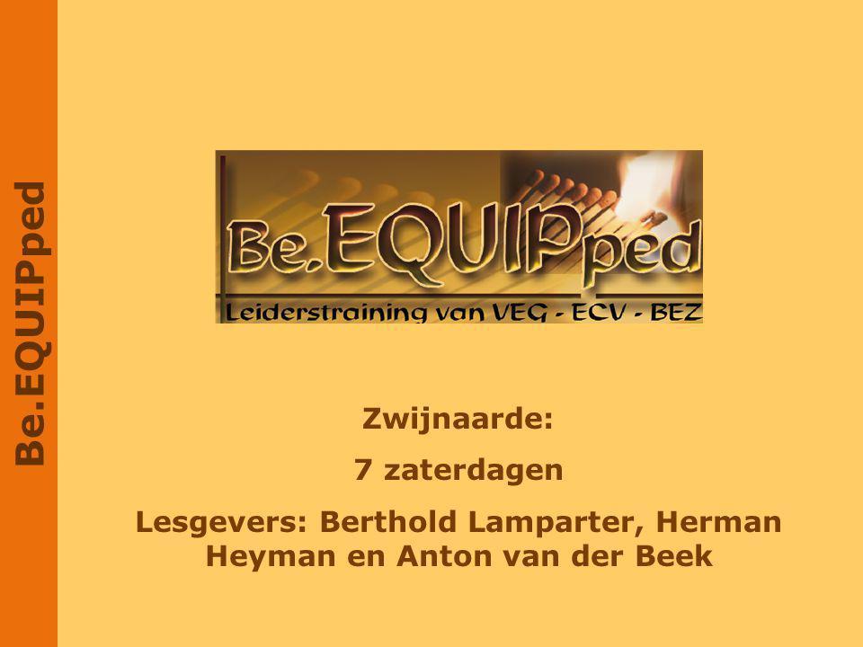 Lesgevers: Berthold Lamparter, Herman Heyman en Anton van der Beek