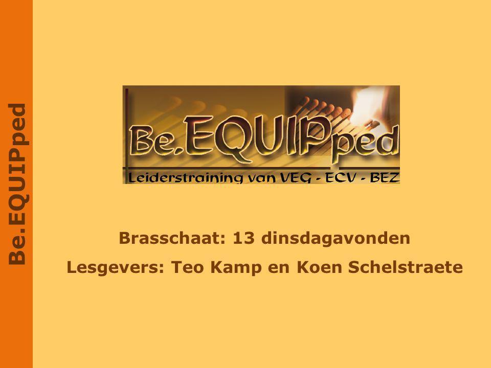 Brasschaat: 13 dinsdagavonden Lesgevers: Teo Kamp en Koen Schelstraete