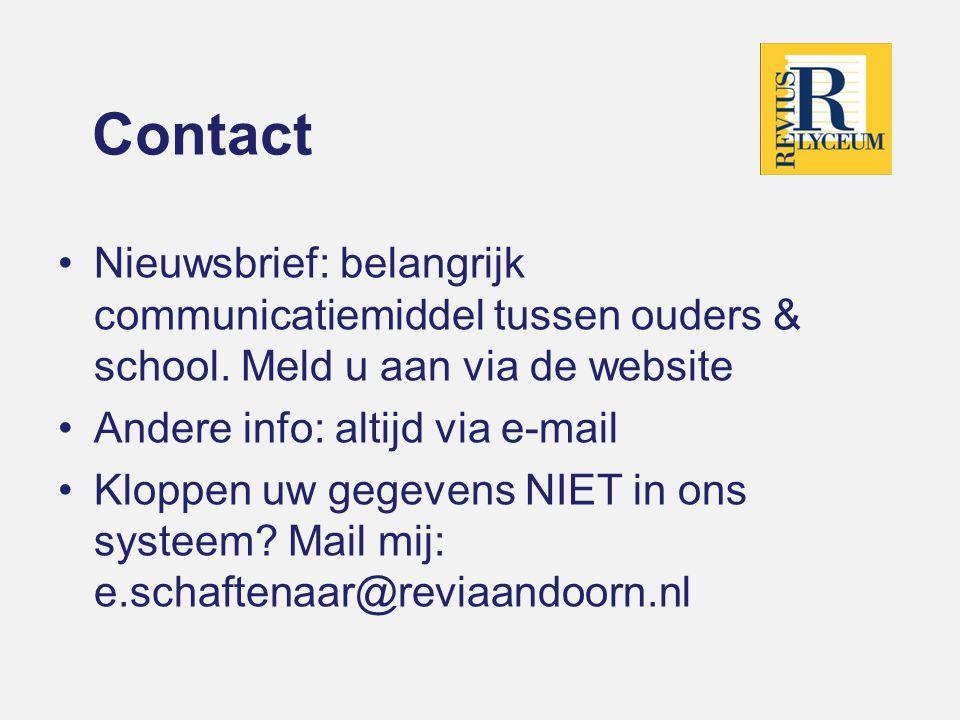 Contact Nieuwsbrief: belangrijk communicatiemiddel tussen ouders & school. Meld u aan via de website.